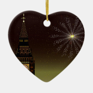New Year And Fireworks Ceramic Heart Decoration