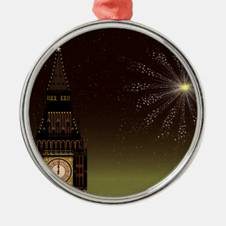 New Year And Fireworks Silver-Colored Round Decoration