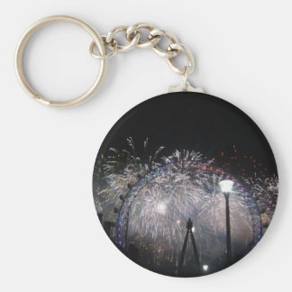 New Year at the London Eye Basic Round Button Key Ring