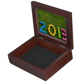 New year ballon design on grass memory box