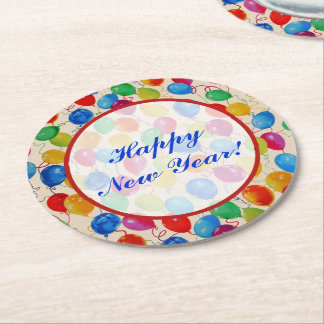 New Year Balloons Round Paper Coaster