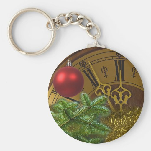 New Year Basic Round Button Key Ring