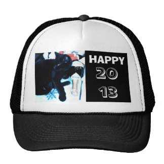 NEW YEAR, BLACK CAT AND CHAMPAGNE cap Trucker Hat