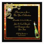 New Year Black Gold Champagne Invitation