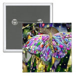 New Year Butterfly, magnet 15 Cm Square Badge