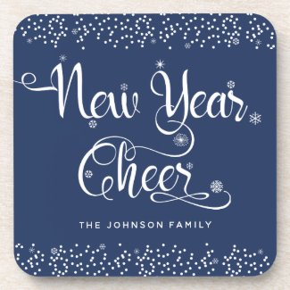 """New Year Cheer"" Snowflakes on Blue Add Your Name Coaster"