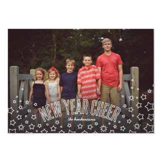New Year Cheer Stars and Bubbly Holiday Photo Card
