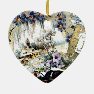 New Year Couple Horse House Flowers Victorian Art Ceramic Heart Decoration