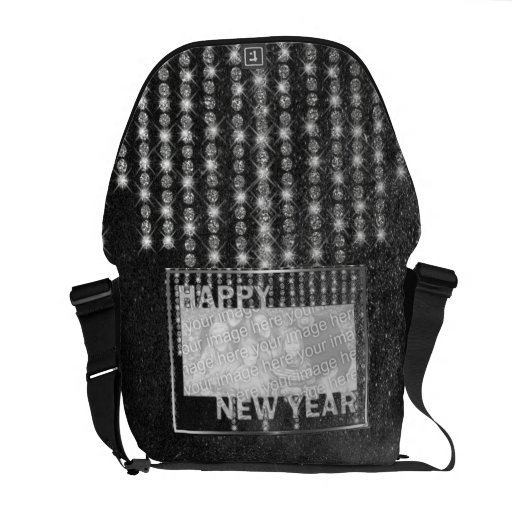 New Year Cut Out Photo Frame Rhinestones Messenger Bags