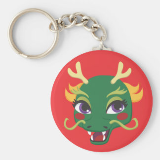 New Year Dragon Ride Basic Round Button Key Ring
