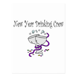New Year Drinking Crew Martini Glasses Post Cards