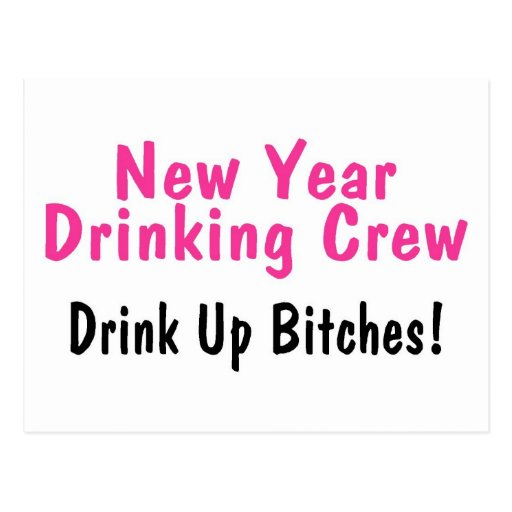 New Year Drinking Crew Pink Postcards