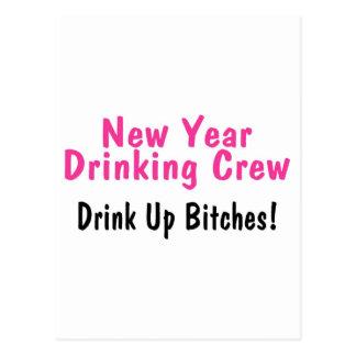 New Year Drinking Crew Pink Postcard
