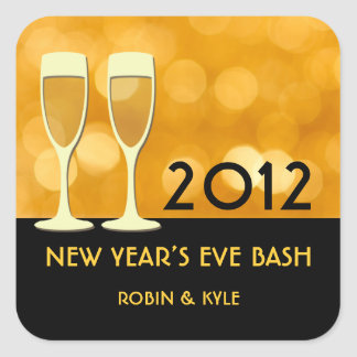 New year eve champagne cocktail glitter glam party square sticker