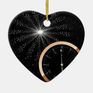 New Year Firework Ceramic Heart Decoration