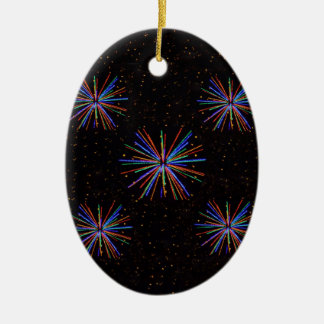 New Year Fireworks  4th of July 2016 Ceramic Oval Decoration