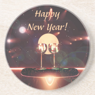 New Year Fireworks and Champagne Beverage Coaster
