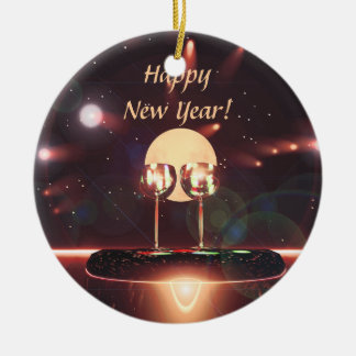New Year Fireworks and Champagne Round Ceramic Decoration