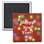 New Year Flash Square Magnet