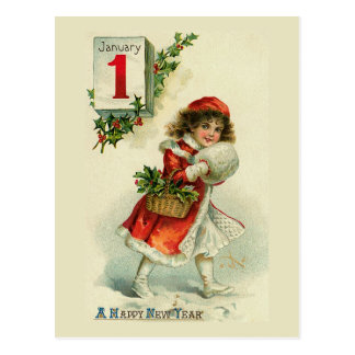 New Year Girl Greeting Card Post Card