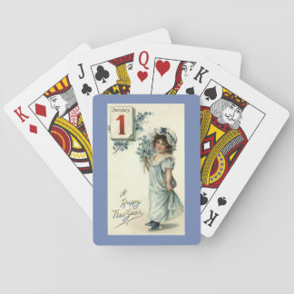 New Year Girl Playing Cards