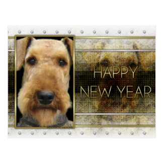 New Year - Golden Elegance - Airedale Postcard