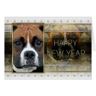 New Year - Golden Elegance - Boxer - Vindy Note Card