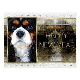 New Year - Golden Elegance - Cavalier - Tri-color Postcard