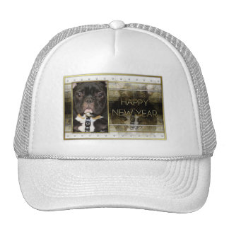New Year - Golden Elegance - French Bulldog - Teal Hats