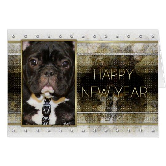 New Year - Golden Elegance - French Bulldog - Teal Card