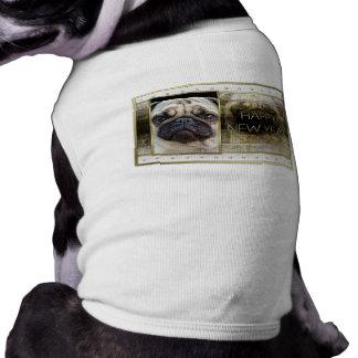 New Year - Golden Elegance - Pug Sleeveless Dog Shirt