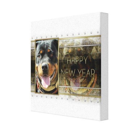 New Year - Golden Elegance - Rottweiler SambaParTi Stretched Canvas Prints