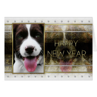 New Year - Golden Elegance - Springer Spaniel Card