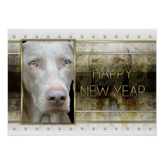 New Year - Golden Elegance - Weimeraner Posters