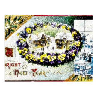 New Year greeting with a village and a flower garl Post Cards
