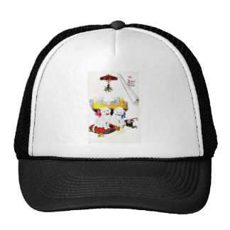 New year greeting with two cats sitting mesh hat