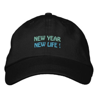 NEW YEAR / NEW LIFE cap (black) Embroidered Baseball Caps