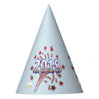 New Year party hat red white blue 2018 typography