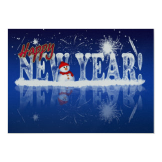 New Year Party Invitation With Ice Effect Text