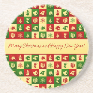 New Year pattern. Color mosaic. 2018. Coaster