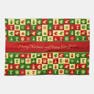 New Year pattern. Color mosaic. 2018. Tea Towel