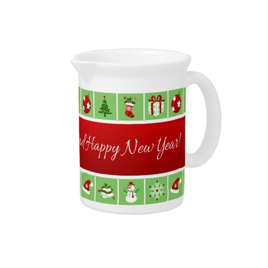 New Year pattern. Colour Pictures. 2018. Pitcher