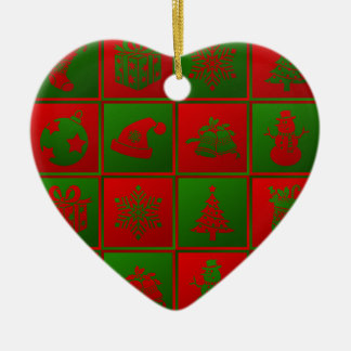 New Year pattern. Red and Green. 2018. Christmas Ornament