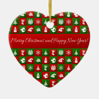 New Year pattern. Red, Green, White. 2018. Christmas Ornament