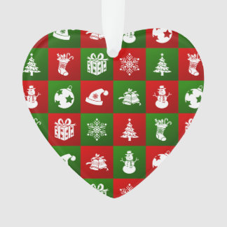 New Year pattern. Red, Green, White. 2018. Ornament