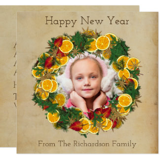 New Year Pine and Citrus Wreath Photo Card