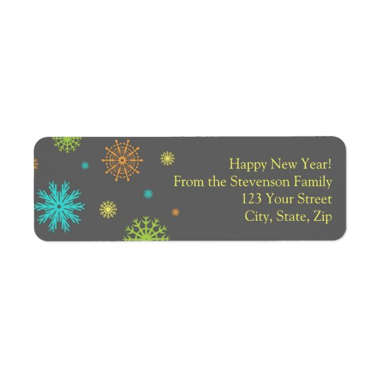 New Year Return Address Labels Colourful Snow