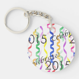 New Year's 2015 Multi Party Streamers on White Keychains