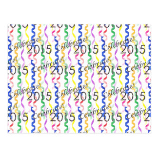 New Year's 2015 Multi Party Streamers on White Postcard