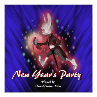 New Year s holiday party cartoon rabbit Custom Announcements